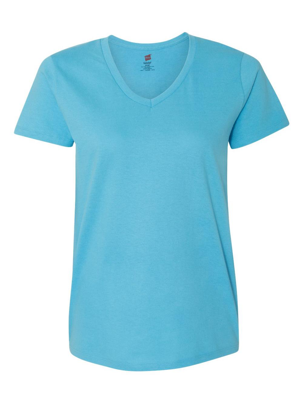Hanes-Women-039-s-Tagless-V-Neck-T-Shirt-5780 thumbnail 3