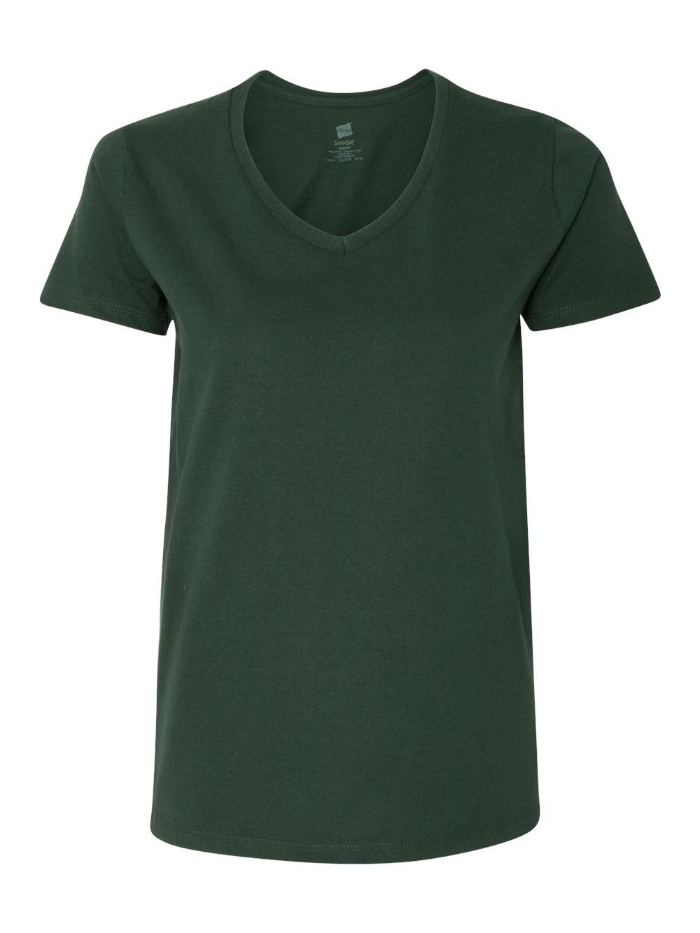 Hanes-Women-039-s-Tagless-V-Neck-T-Shirt-5780 thumbnail 9