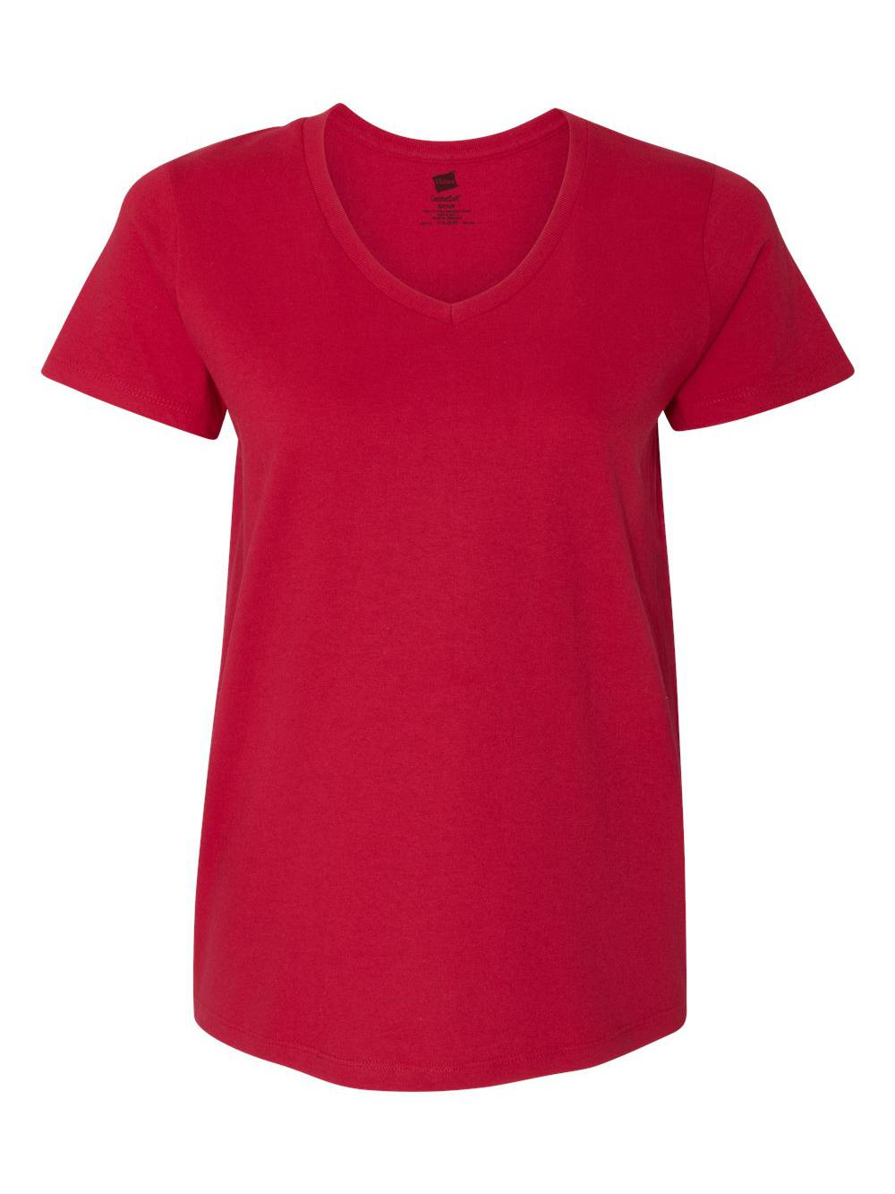 Hanes-Women-039-s-Tagless-V-Neck-T-Shirt-5780 thumbnail 12
