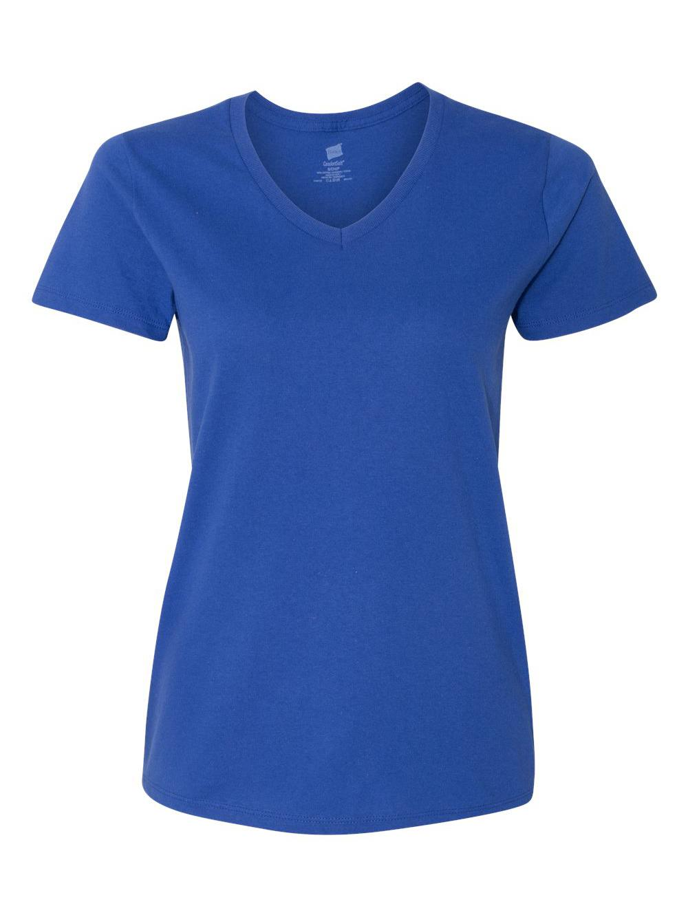 Hanes-Women-039-s-Tagless-V-Neck-T-Shirt-5780 thumbnail 15