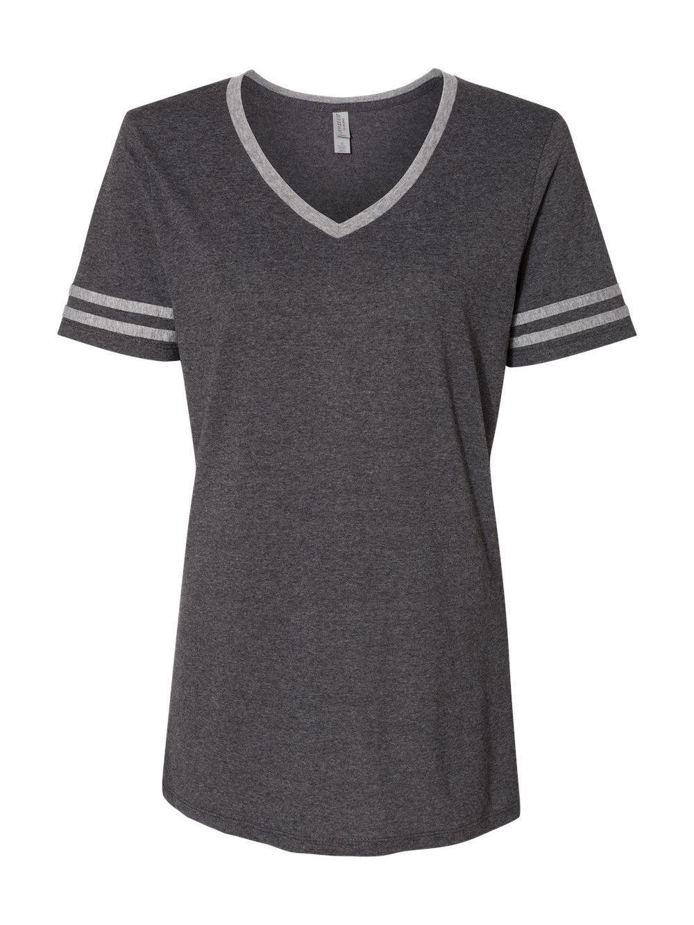 Jerzees-Triblend-Women-039-s-V-Neck-Varsity-T-Shirt-602WVR thumbnail 3