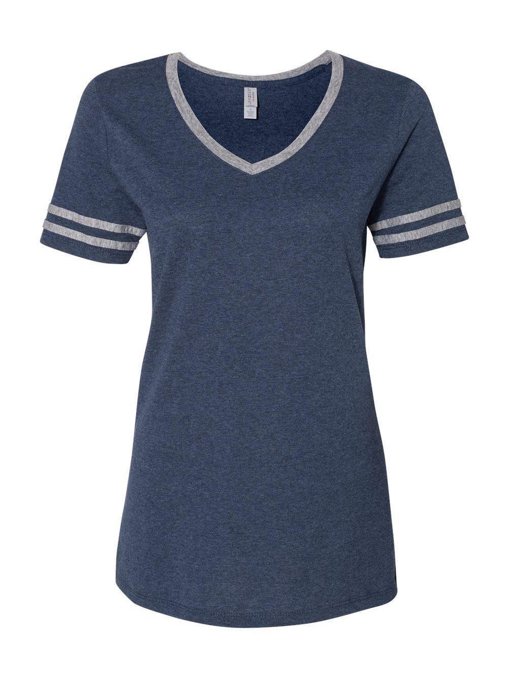 Jerzees-Triblend-Women-039-s-V-Neck-Varsity-T-Shirt-602WVR thumbnail 12