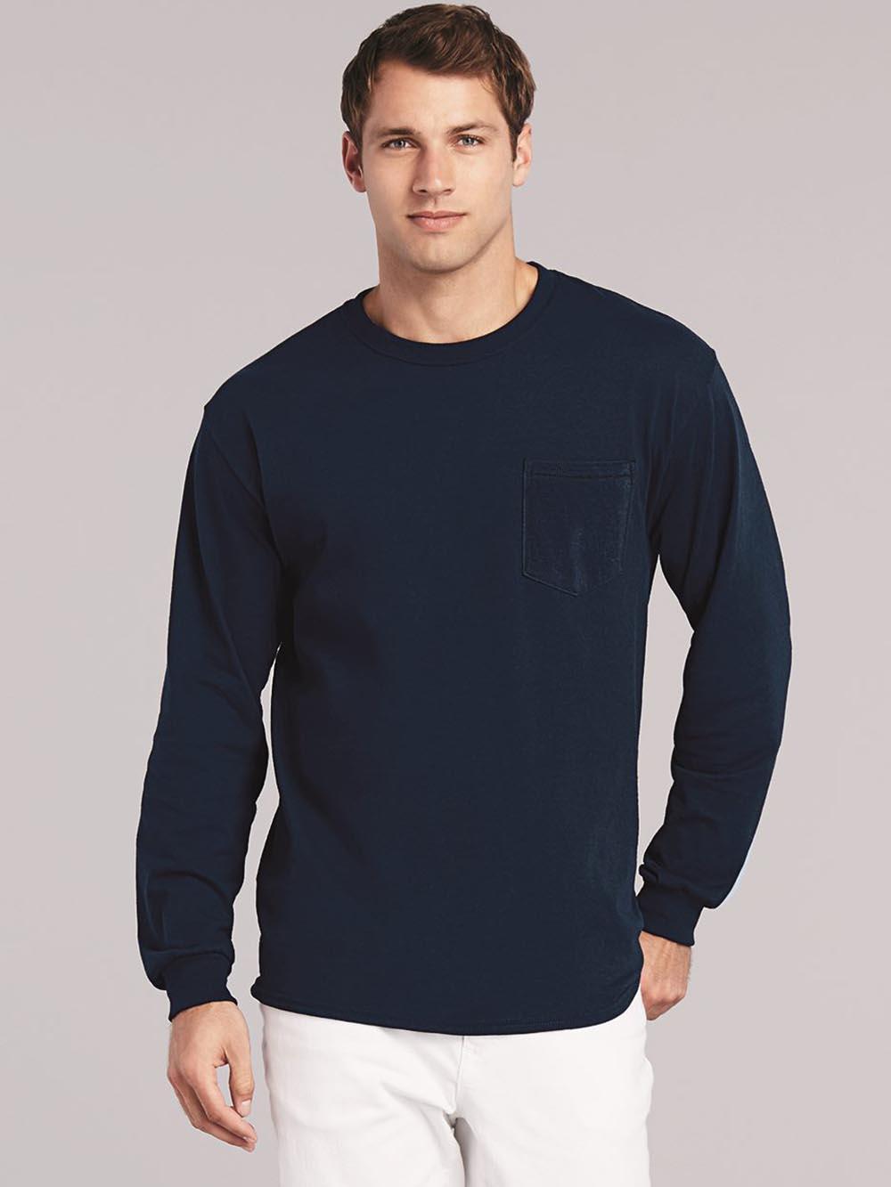 49796e9ec35 Gildan - Ultra Cotton Long Sleeve T-Shirt with a Pocket - 2410