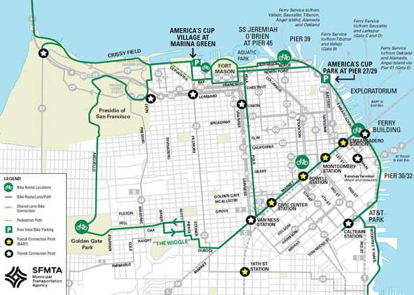 Bike San Francisco Map Biking to America s Cup