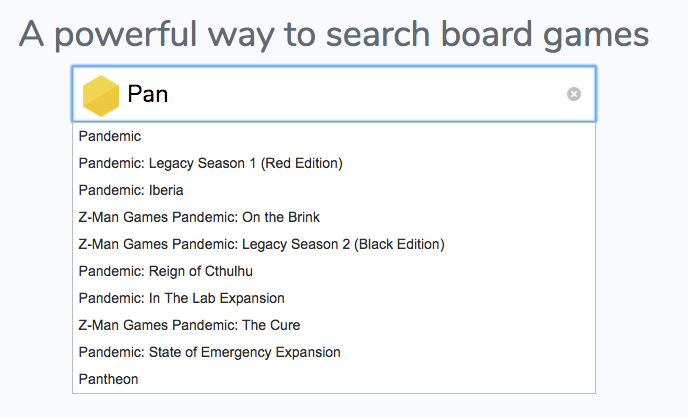 Board game search autocomplete