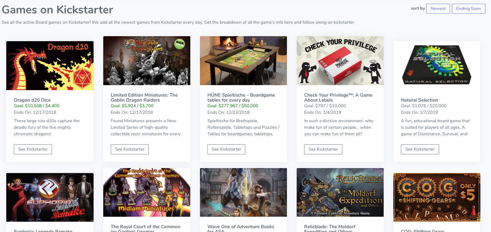 Board Game Kickstarter Search