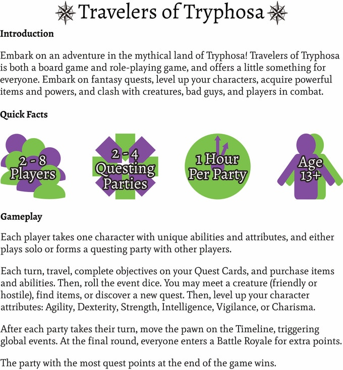 Travelers of Tryphosa Board Game