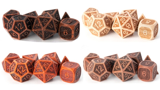 CNC Machined Precision Wood Dice: Purple Heart and More