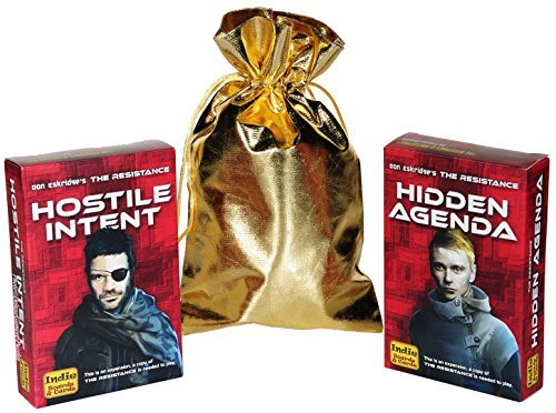 Hidden Agenda and Hostile Intent Expansions for the Resistance Game _ Bonus gold cloth drawstring storage bag