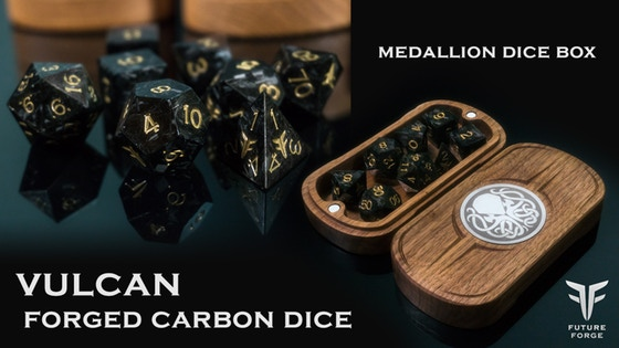 Vulcan Forged Carbon RPG Dice - Handmade by Future Forge