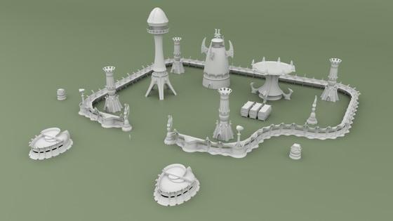 3D Printable Alien Space Elf Scenery for Tabletop Wargames