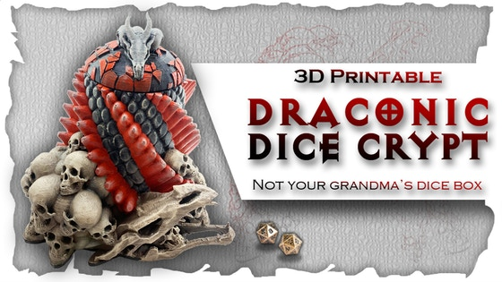 Draconic Dice Crypt: 3D Printable Dice Box & Drink Holder