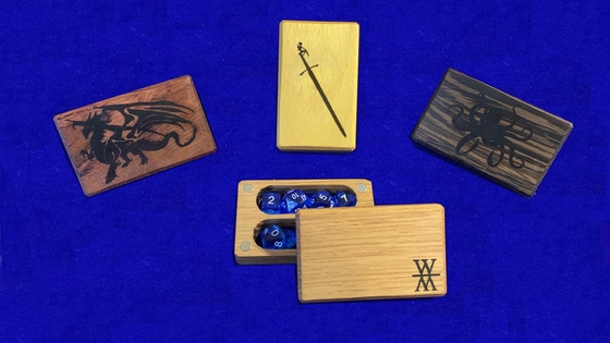 Customizable mini dice boxes by Wooded Meadows Gaming.