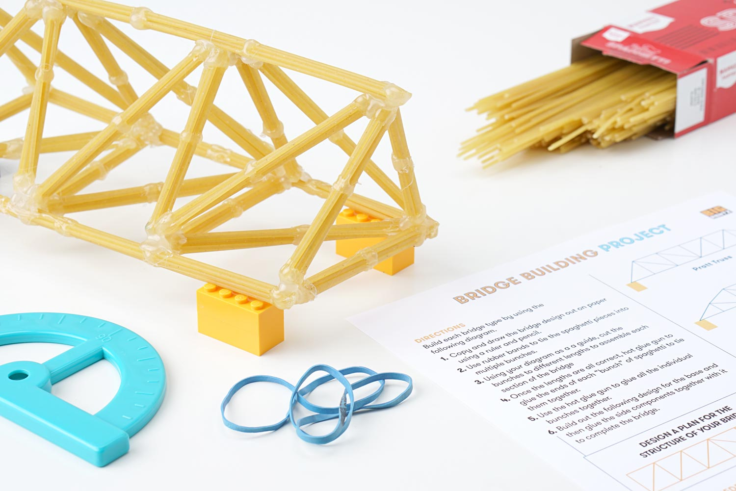 A kids' bridge made from sphaghetti and hot glue