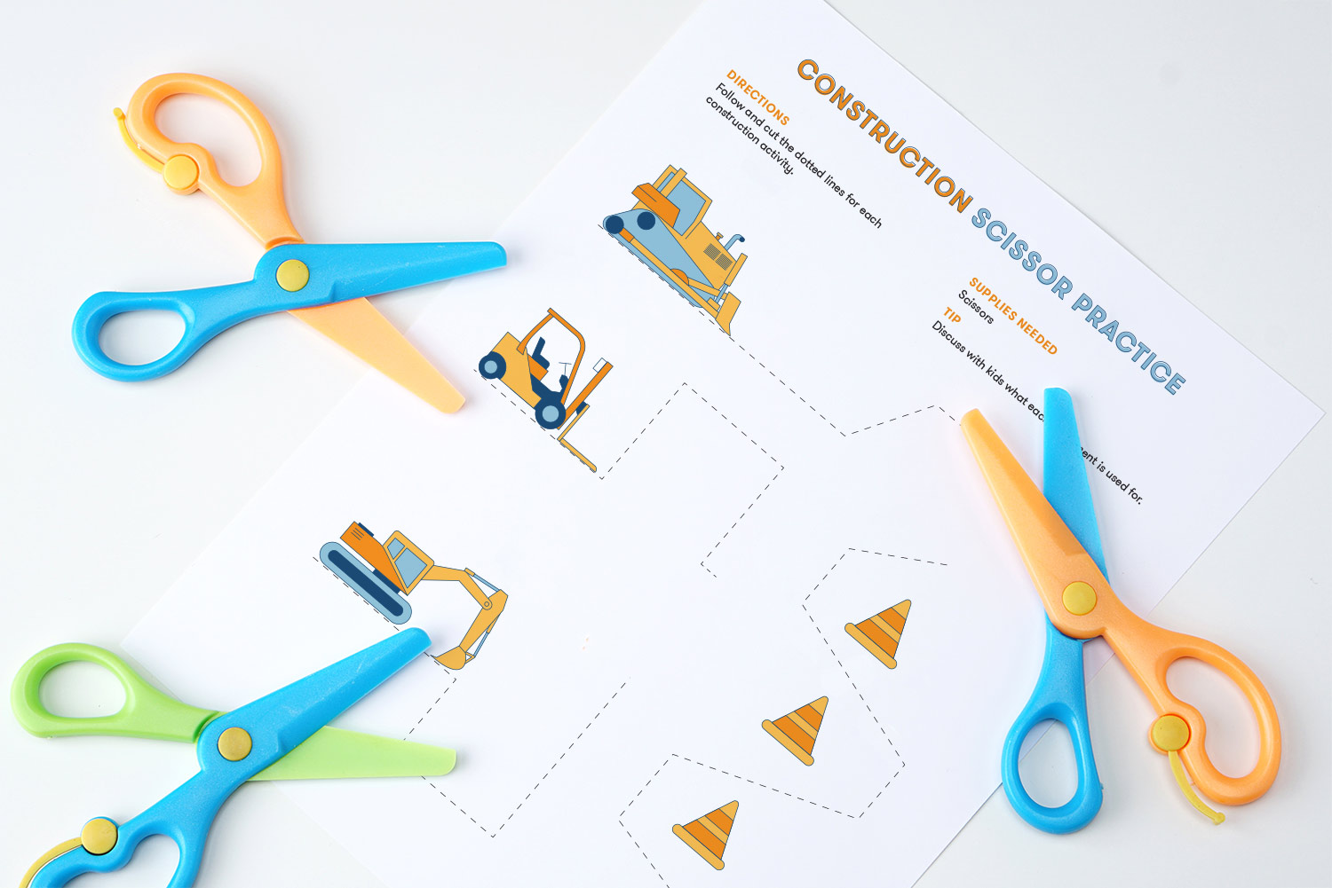 Scissor cutting activity featuring construction equipment lines