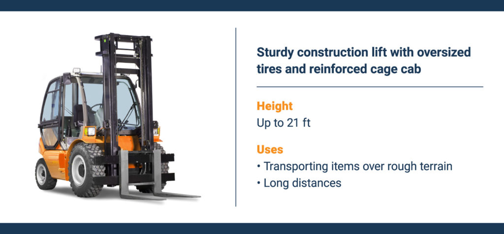 A telescopic forklift with an extendable arm and lifting attachment.