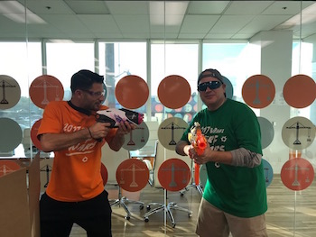 Scott Cannon and Dallas Imbimbo at Nerf Wars