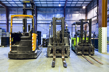 Varying types of forklifts