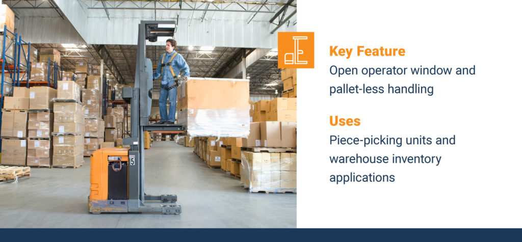 order picker placing pallets in a warehouse