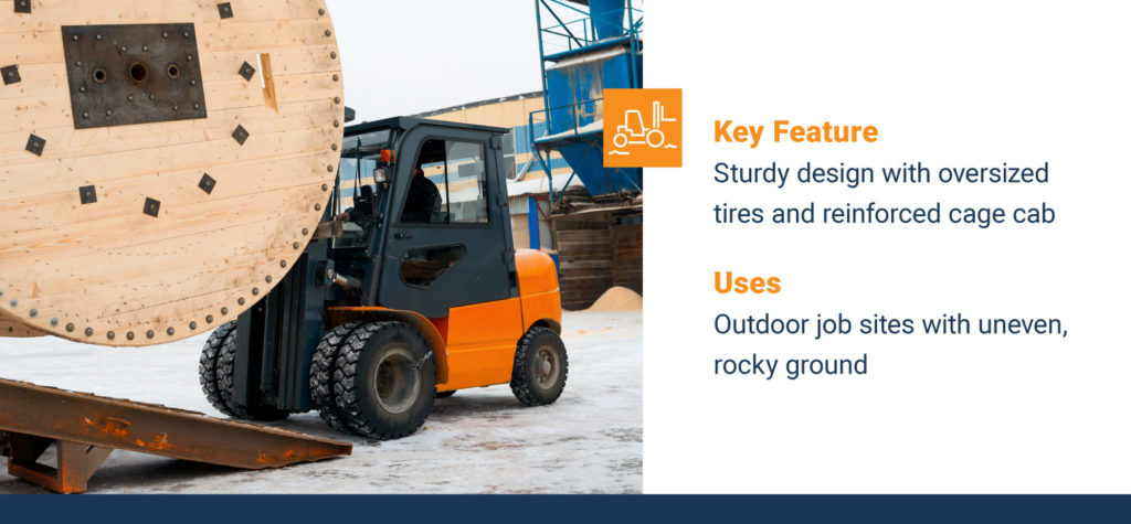 rough terrain forklift on snow