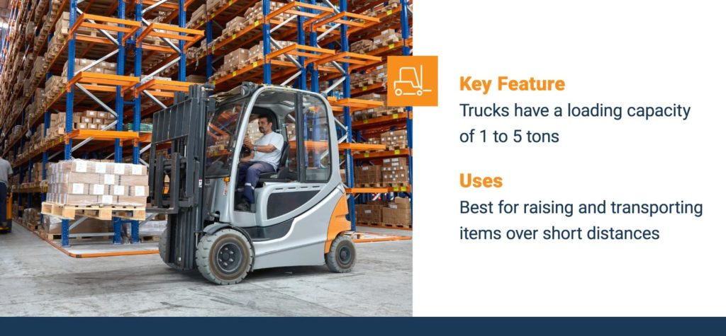Warehouse forklifts have a loading capacity of 1 to 5 tons