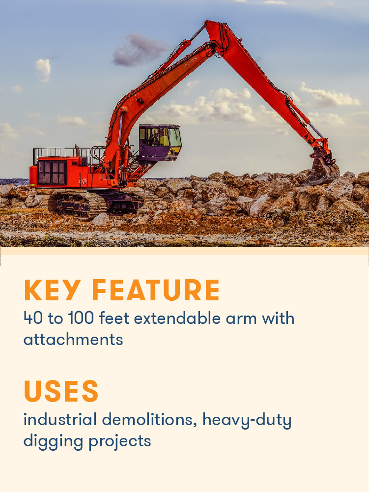 A long reach excavator uses its extendable arm for a heavy duty project.