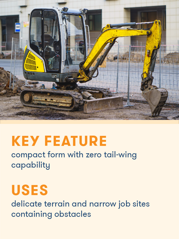 Mini excavators are smaller and lighter excavators with zero tail-swing.