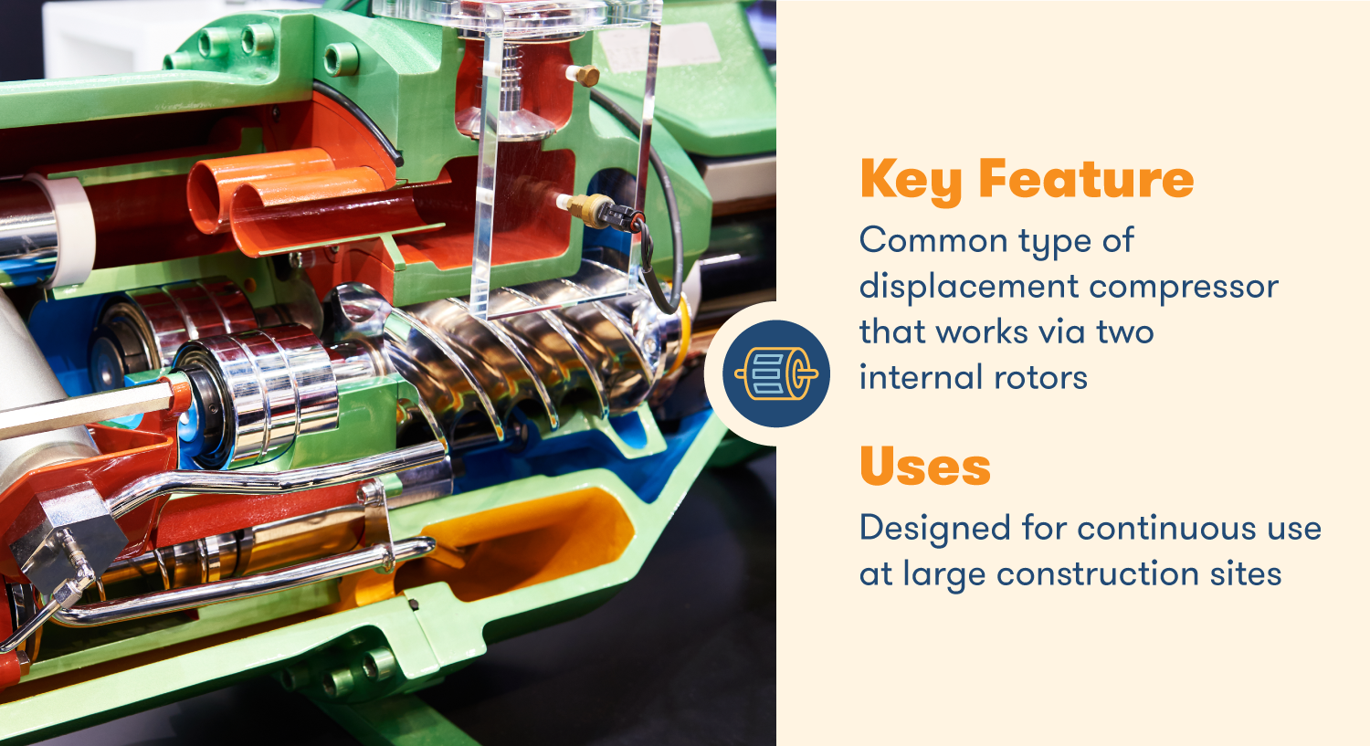 Rotary-screw compressors work via two internal rotors, designed for continuous use at larger construction sites.