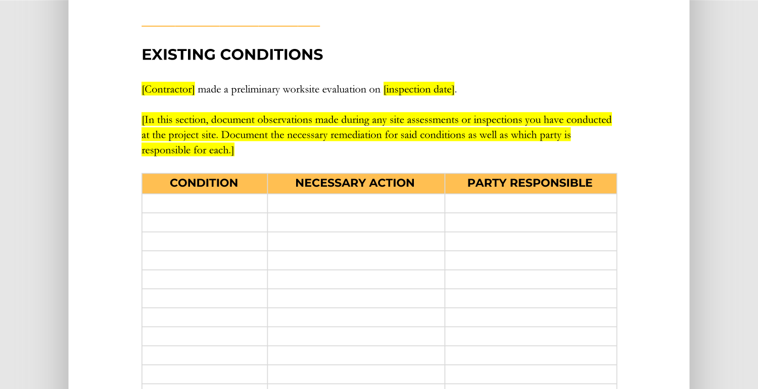 Existing Conditions Template