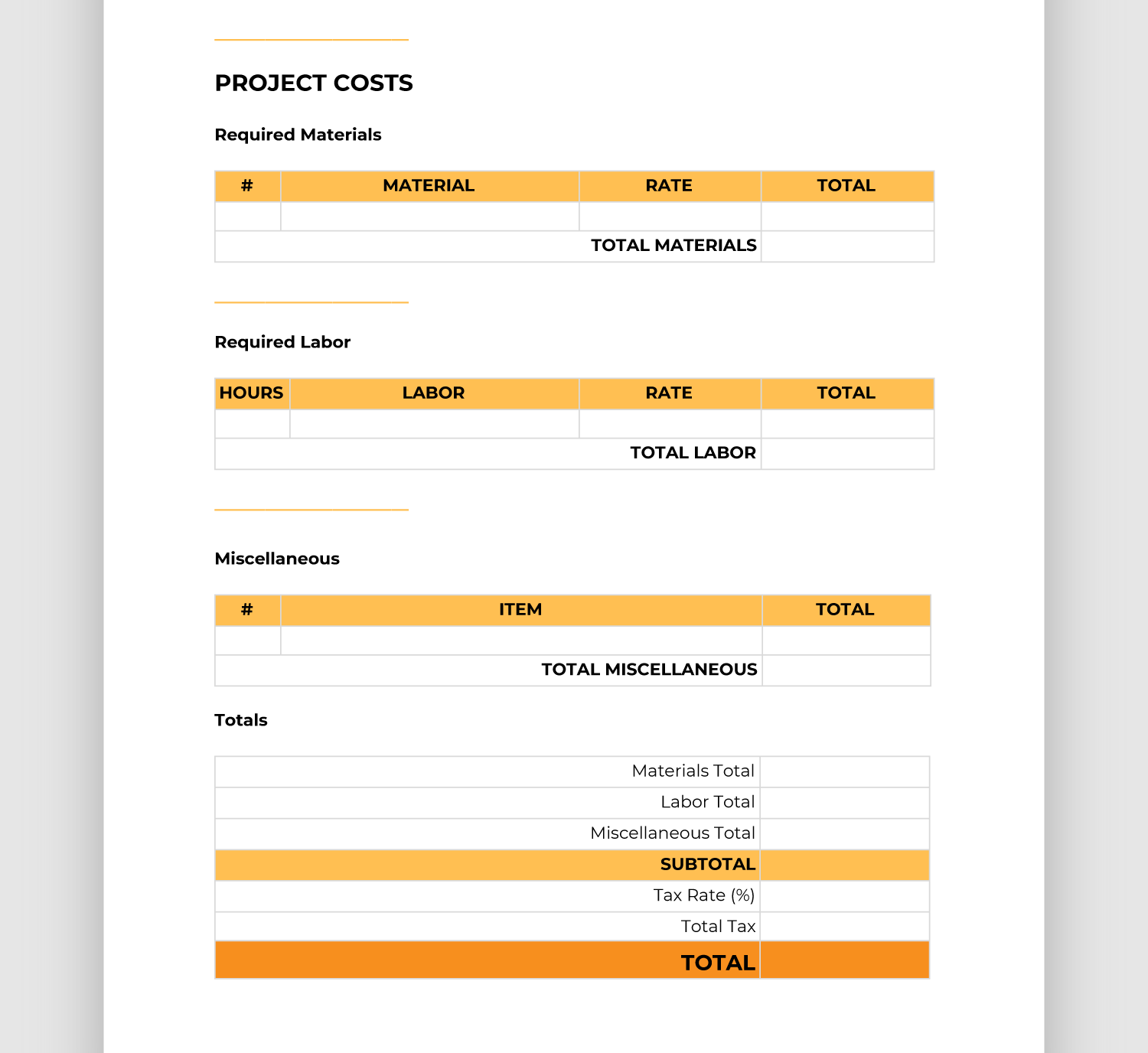 Easy To Use Construction Bid Template Free Downloadable Bigrentz