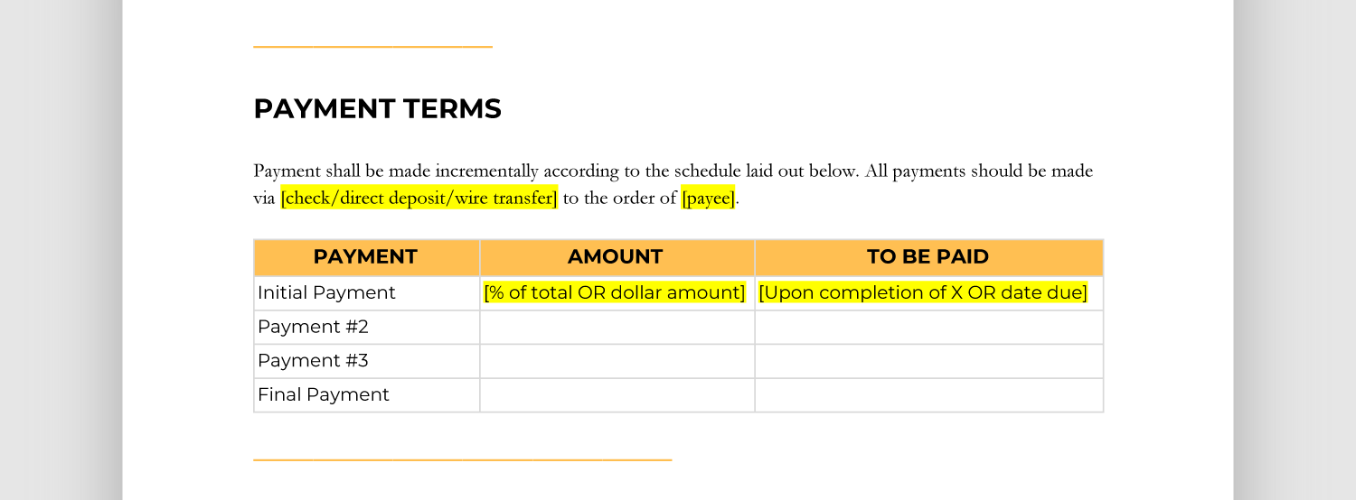 Payment Terms Template