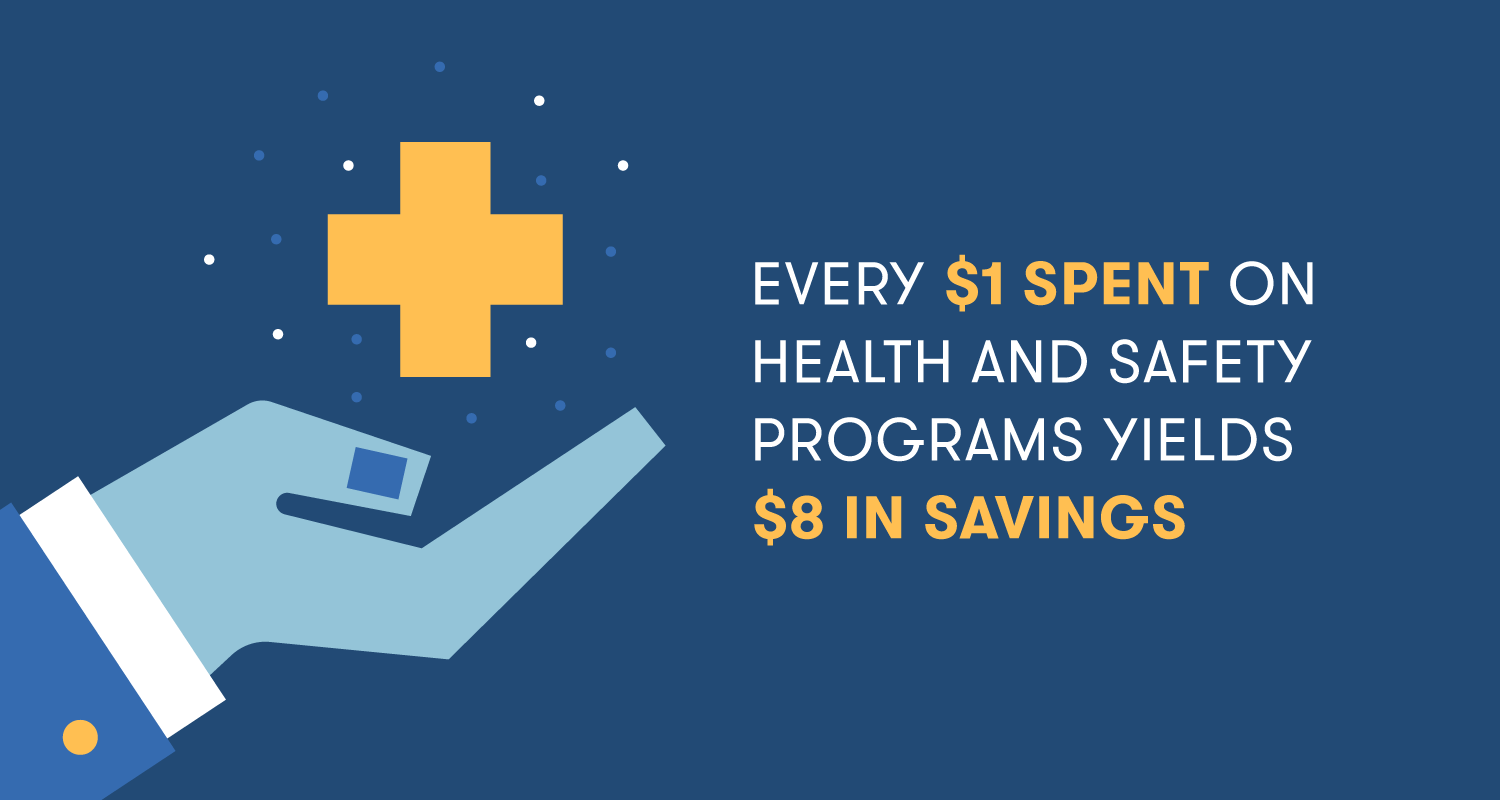 "Illustration: ""Every $1 Spent on Health and Safety Programs Yields $8 in Savings"""