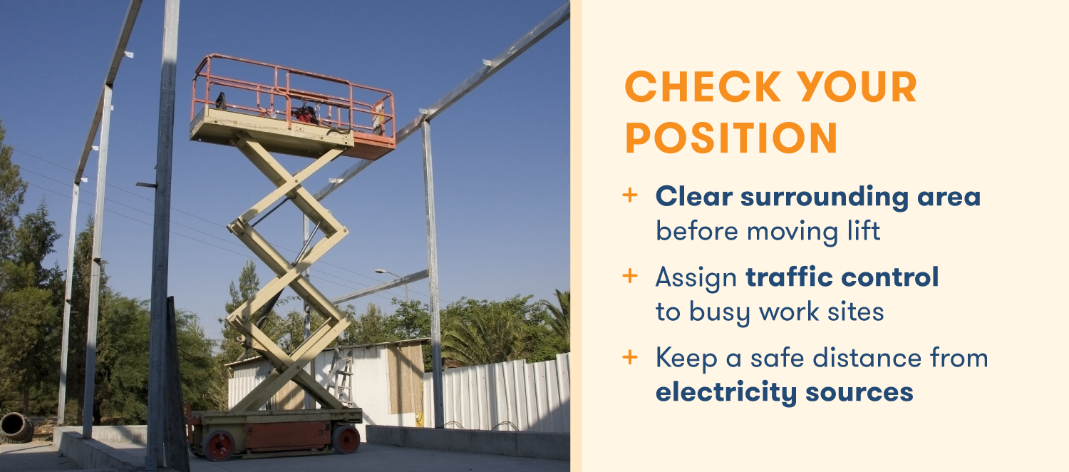 Checklist for positioning a scissor lift