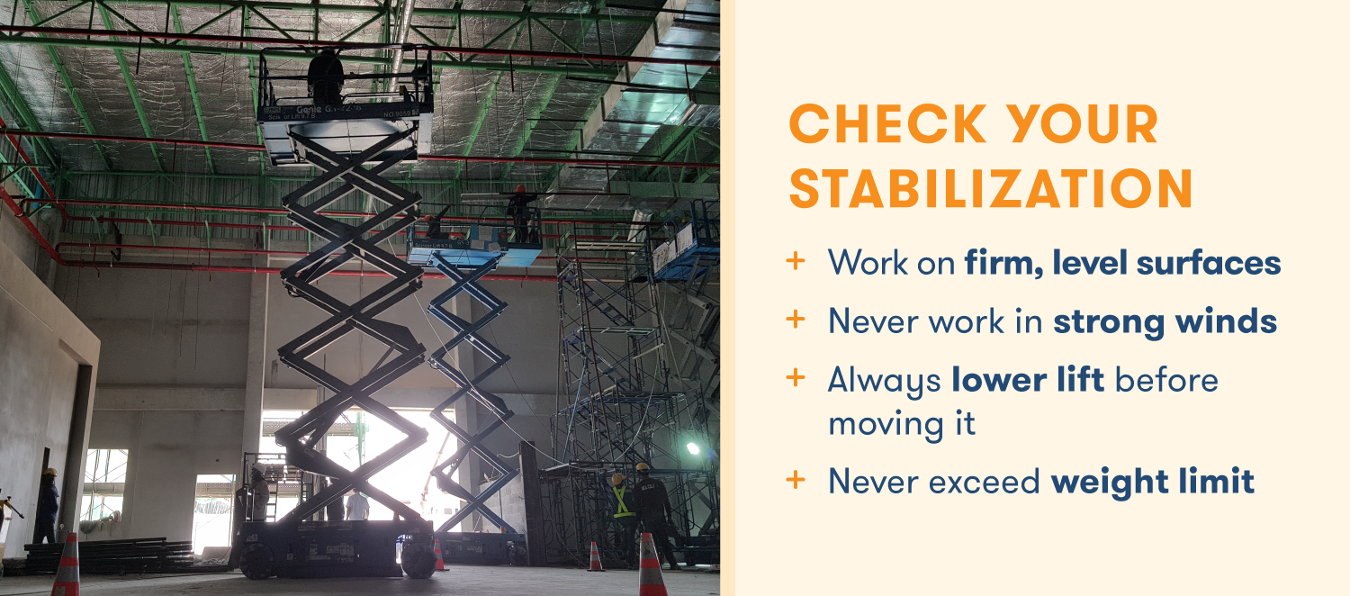 Checklist for stabilizing a scissor lift