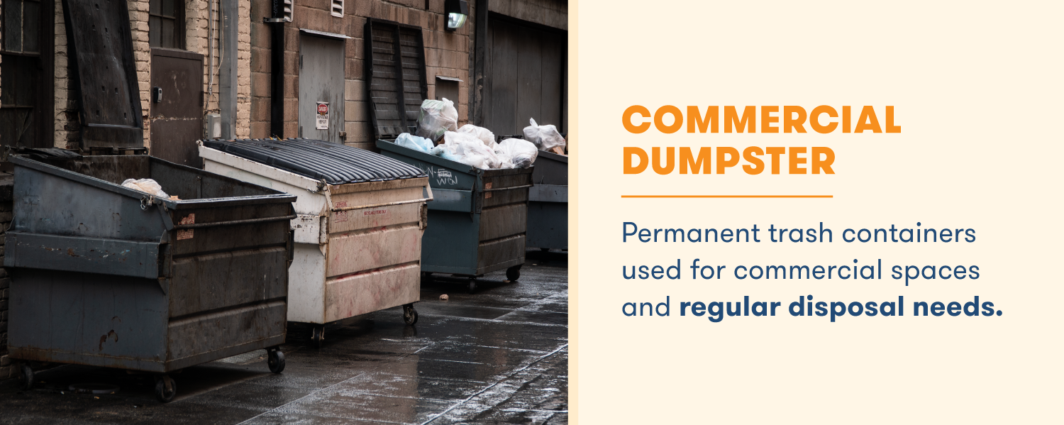 A commercial dumpster is a permanent trash container with regular disposal needs. It is used in commercial and business spaces.
