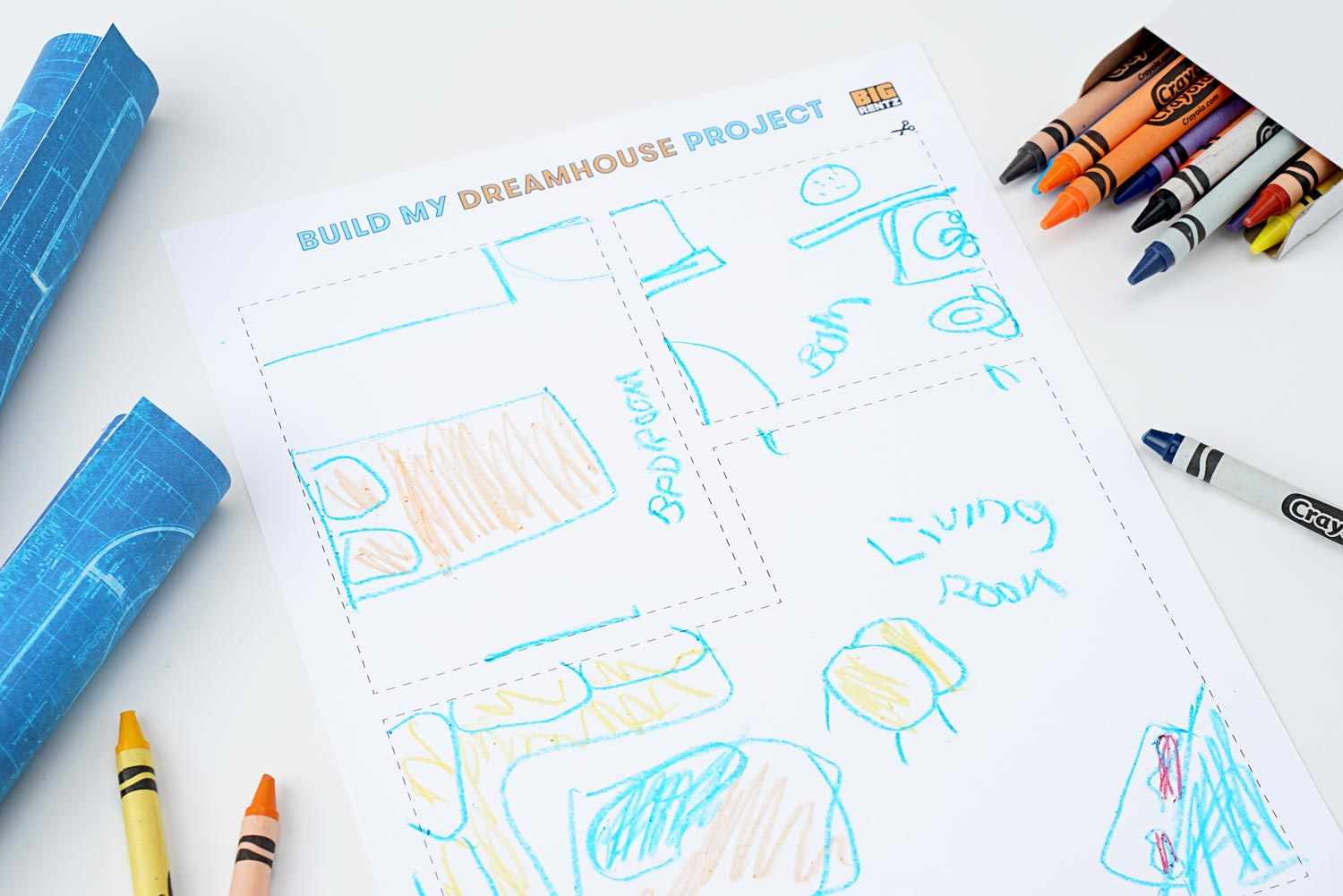 Kid's drawing of their dream house blueprint