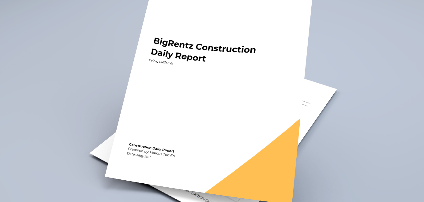 Cover page of a construction daily report