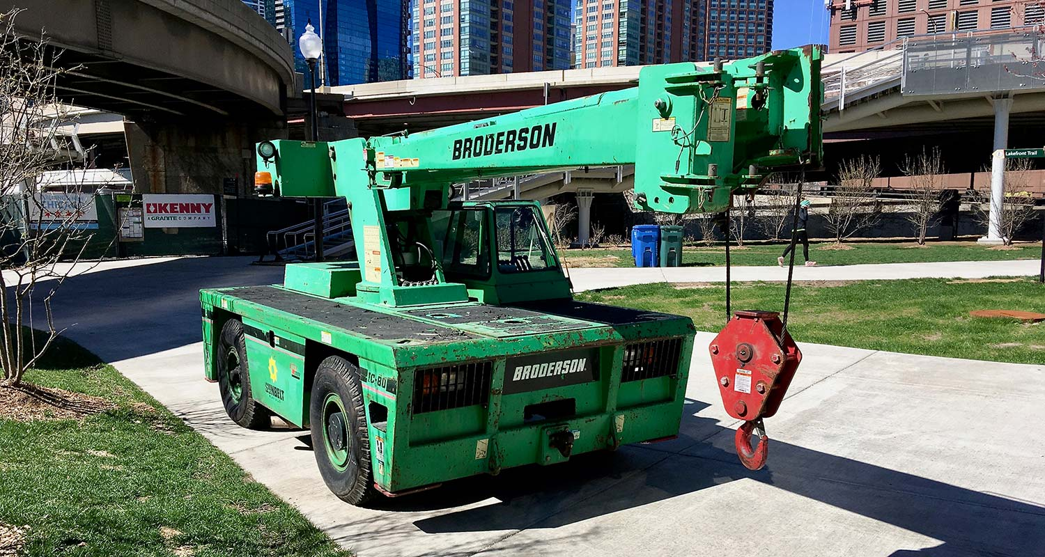 a green carry deck crane