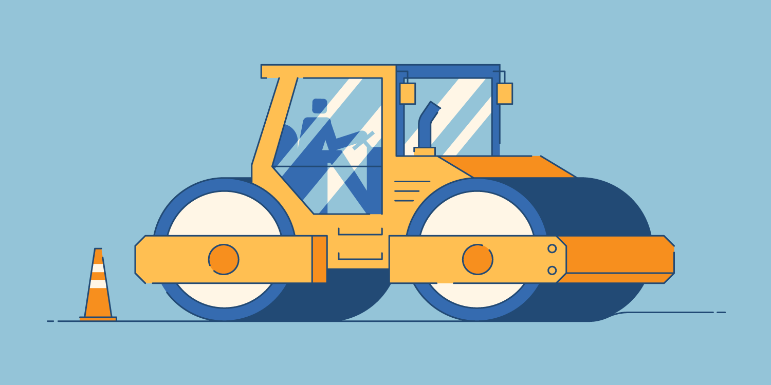 illustration of construction worker using heavy machinery