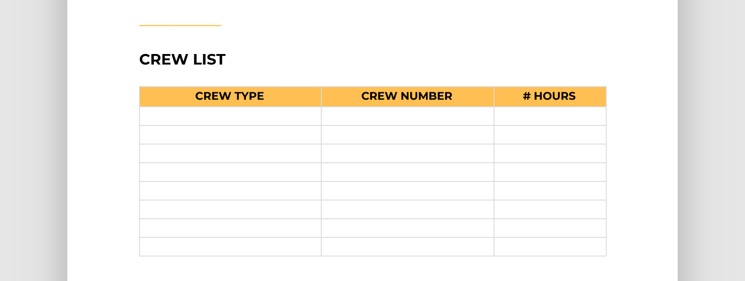 Screencap of crew list section of report