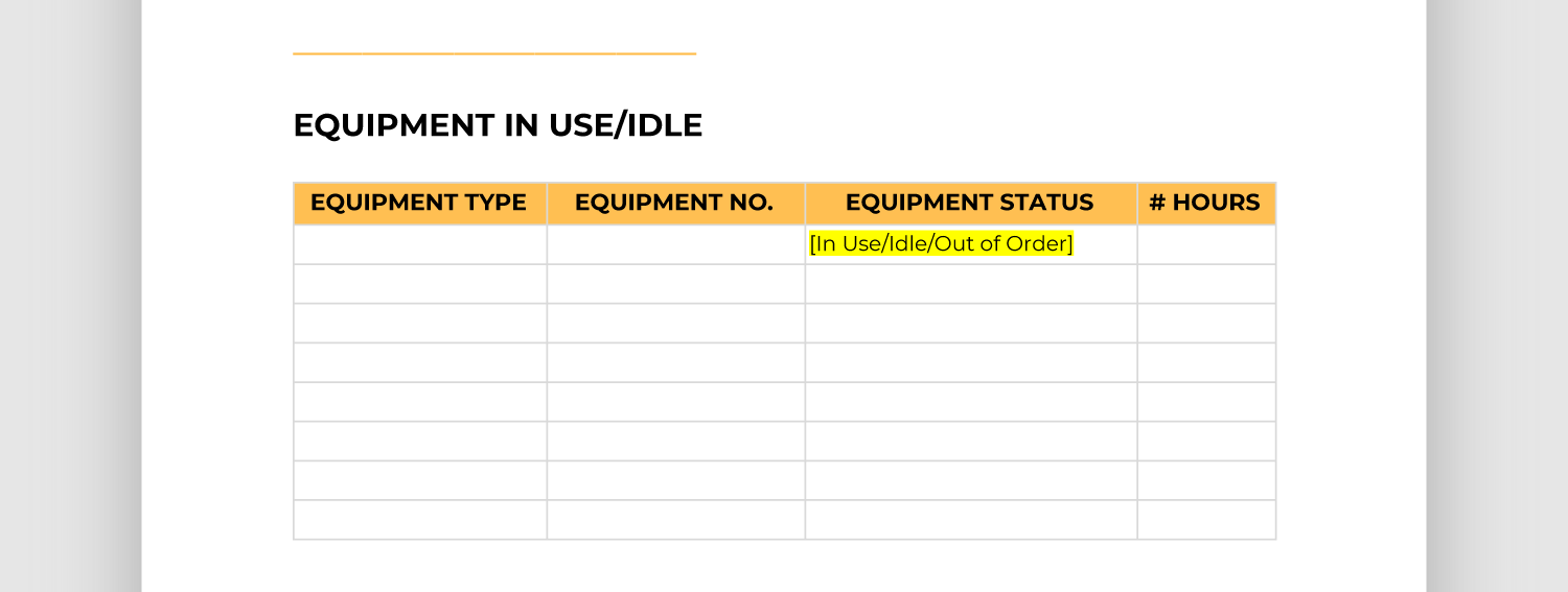 Screencap of equipment in use/idle section of report