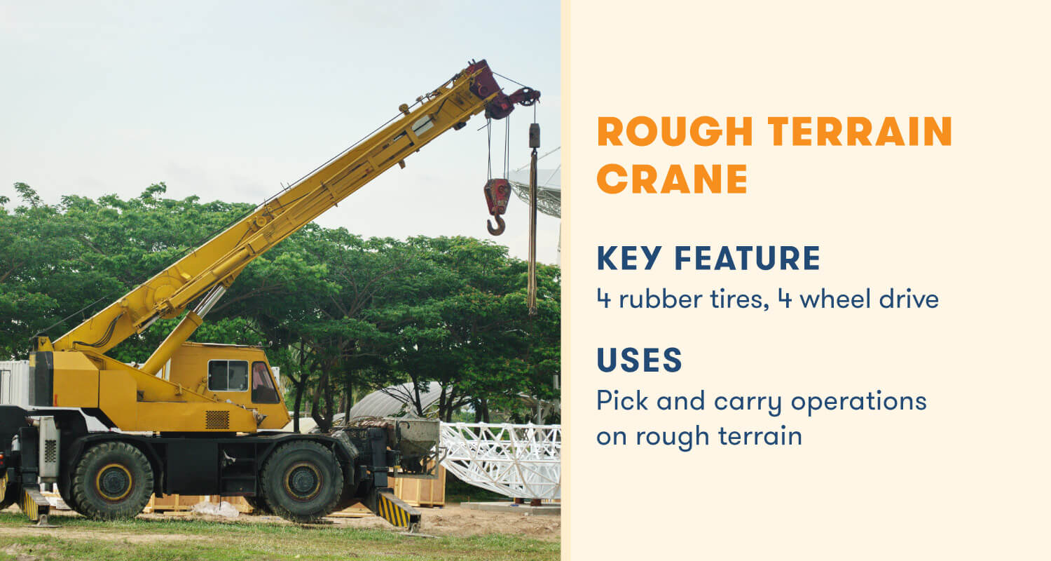 rough terrain crane key feature 4 rubber tired, 4 wheel drive
