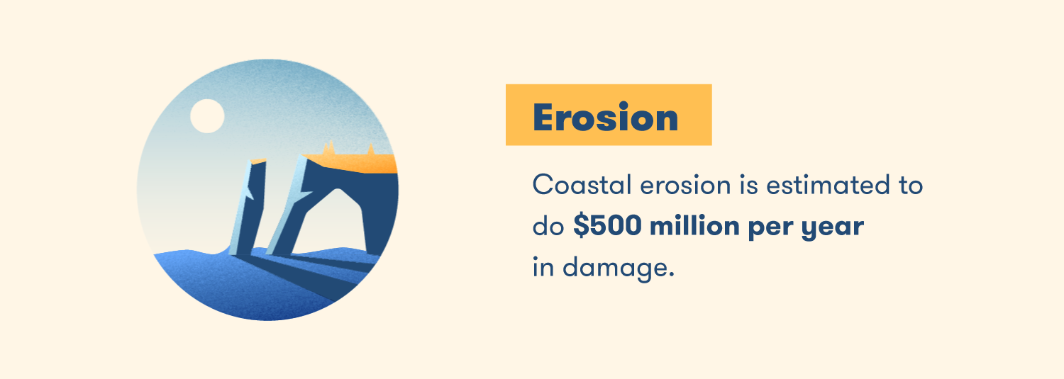 Coastal erosion is estimated to do $500 million per year in damage.