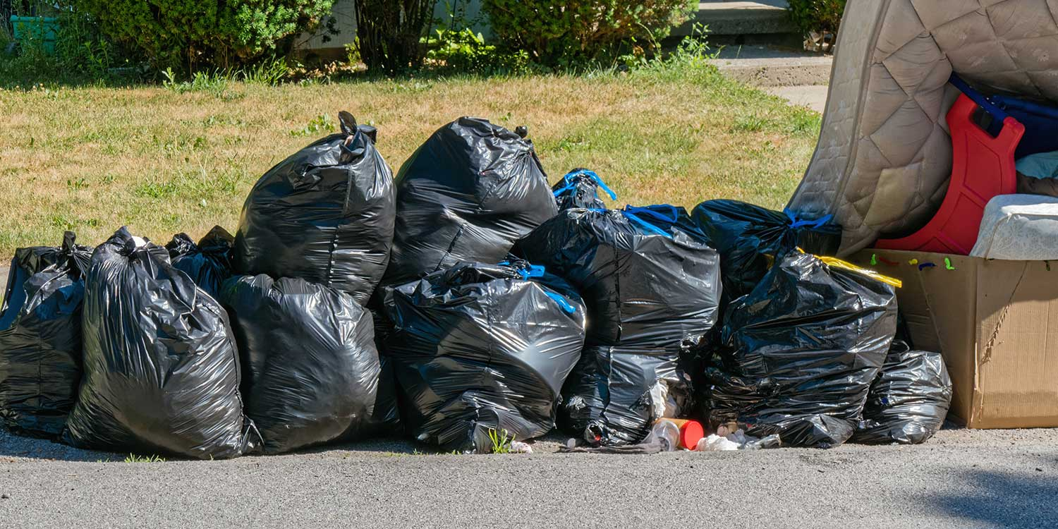 Garbage bags on a residential street