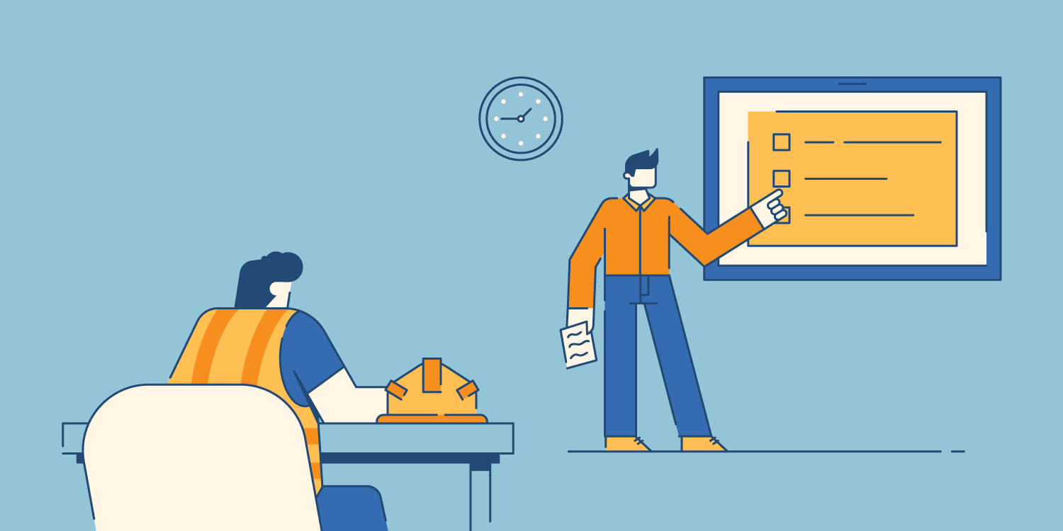 illustration of construction workers conducting training