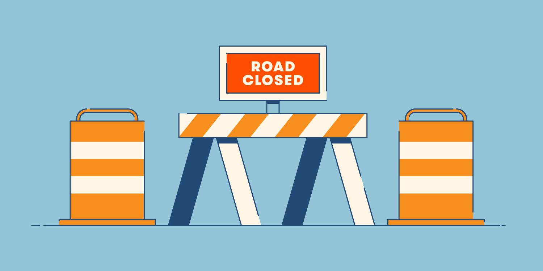 illustration of construction barricades and barrels