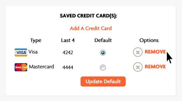 Delete Credit Card