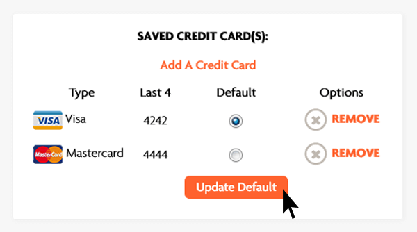 Update Default Credit Card