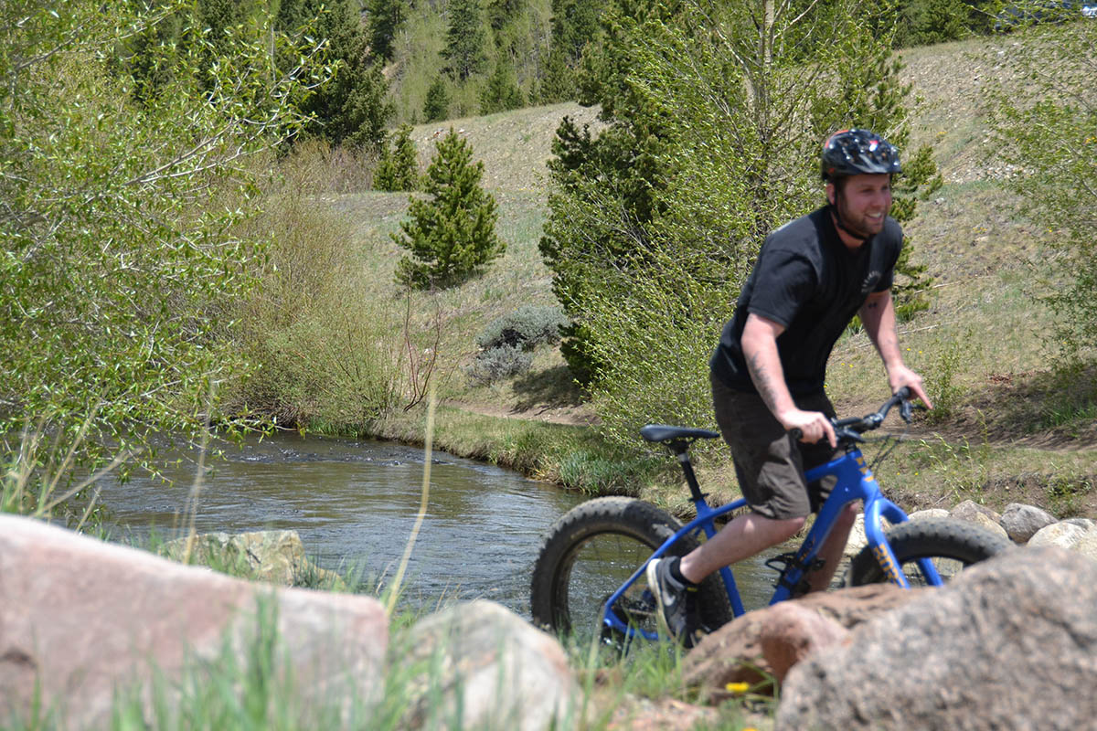 Jared riding a summer fatbike in Breckenridge