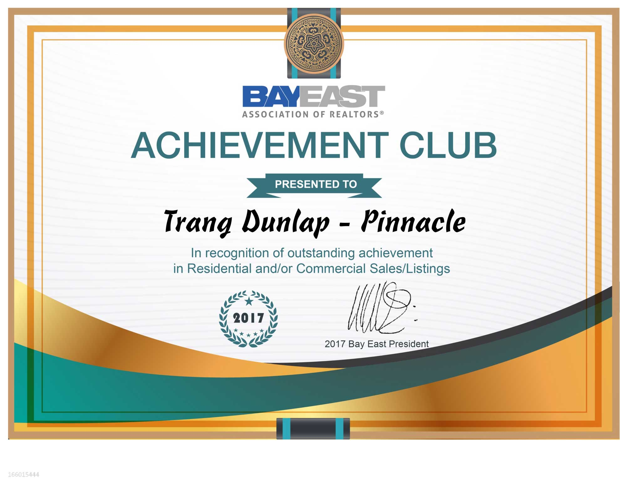 2017 trang dunlap bayeast realtor pinnacle award for selling over 20 million dollars in sales